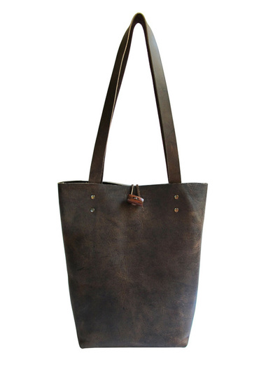 Handmade leather minimalist tote in crazy horse