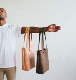 Handmade leather minimalist totes