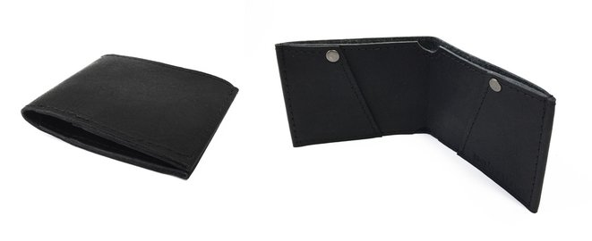 Handmade leather flat fold wallet in black