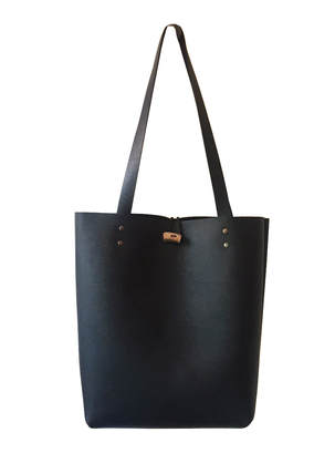 handmade black leather tote