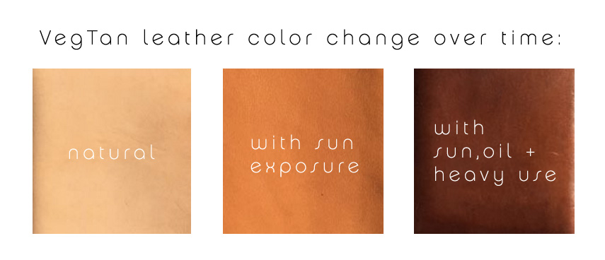 Vegtan leather color change over time
